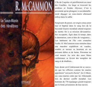 Couverture Le sous-marin des ténèbres Robert McCammon éditions Lefrancq