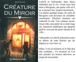Couverture Créature du miroir Jess Kaan