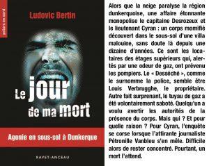 Couverture Le jour de ma mort Ludovic Bertin Ravet-Anceau collection Polars en Nord
