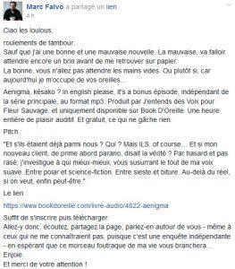 Annonce Aenigma Marc Falvo Facebook