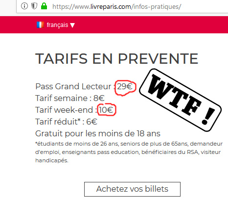 Livre Paris tarifs élevés