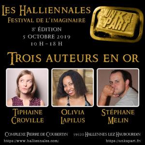 Auteurs Halliennales 2019 Tiphaine Croville Olivia Lapilus Stéphane Melin stand Un K à part
