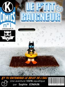 Détournement de couverture Batman comics Lego Le Petit Baigneur Et tu entendras le bruit de l'eau Sophie Jomain par Un K à part