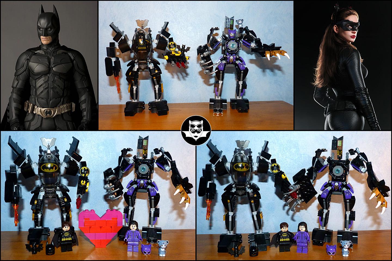 Lego MOC Batman Catwoman DC Comics exosquelettes robots de combat love story