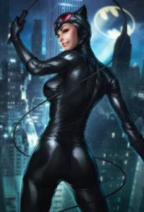 Catwoman fouet joli petit cul vue nocturne Gotham City