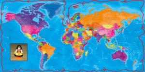 Carte tour du monde de la Terre plate
