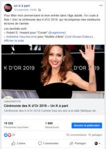 Record audience Facebook blog Un K à part