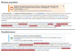 Wikipedia définition littérature populaire paralittérature