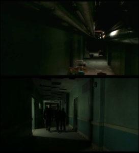 Against the dark couloir hopital