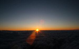 Fuji nuages lever de soleil